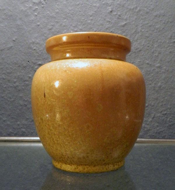 Bückeburg, Vase mit orange/gelber Kristallglasur, 1920er Jahre